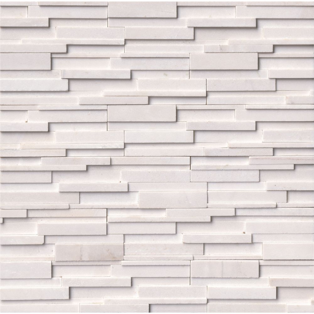 Arctic White 6x12x6 3D Honed Corner Ledger Panel