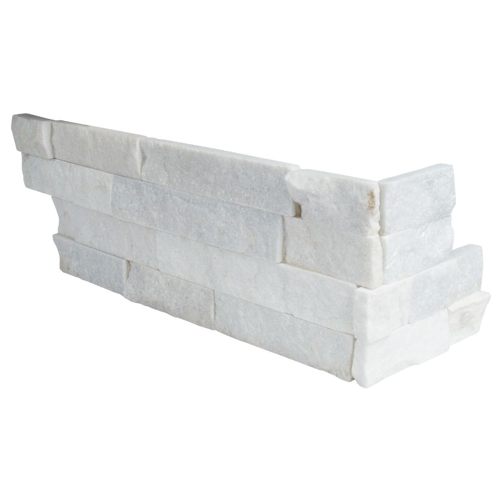 Arctic White 6x12x6 Split Face Corner Ledger Panel