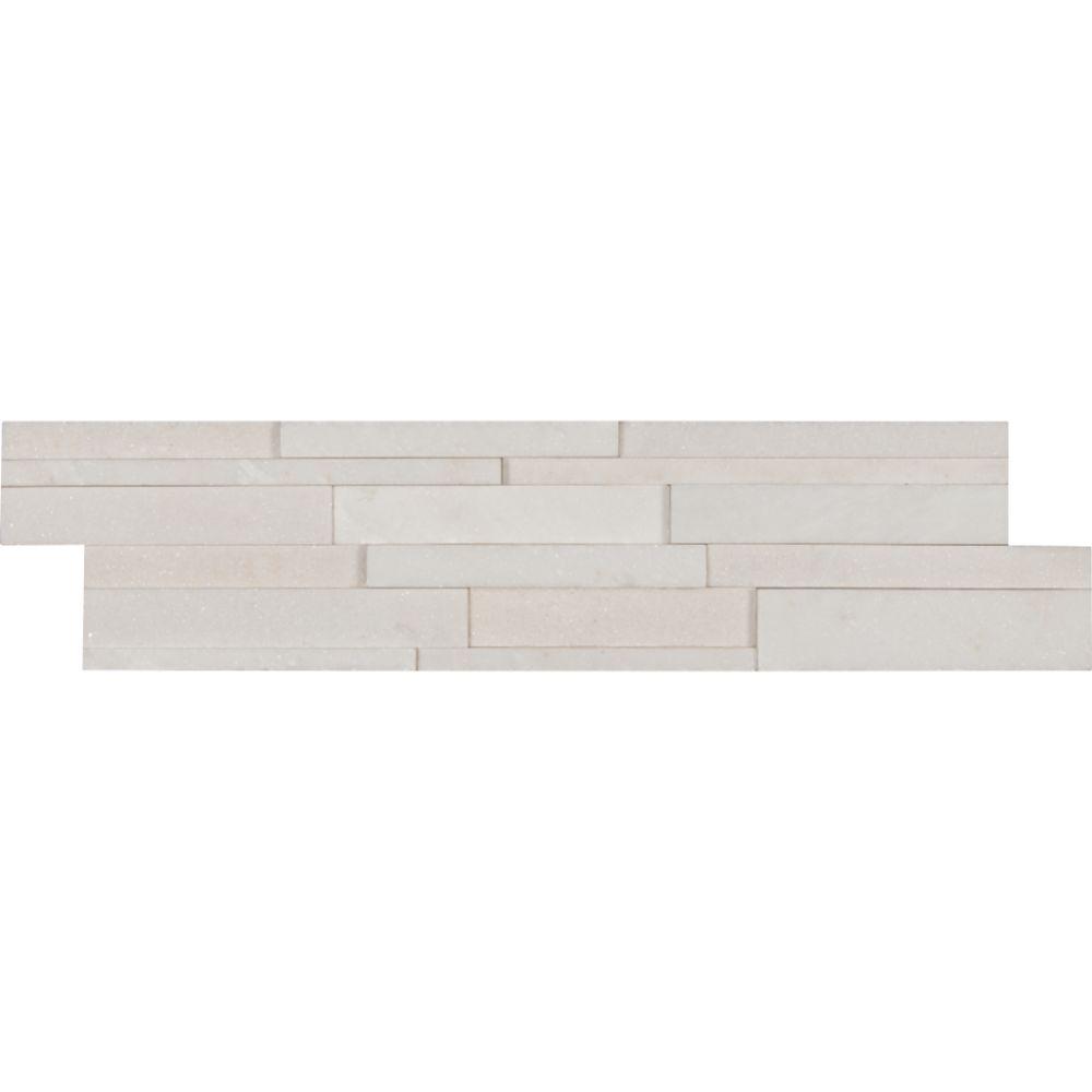 Arctic White 6x24 3D Honed Ledger Panel