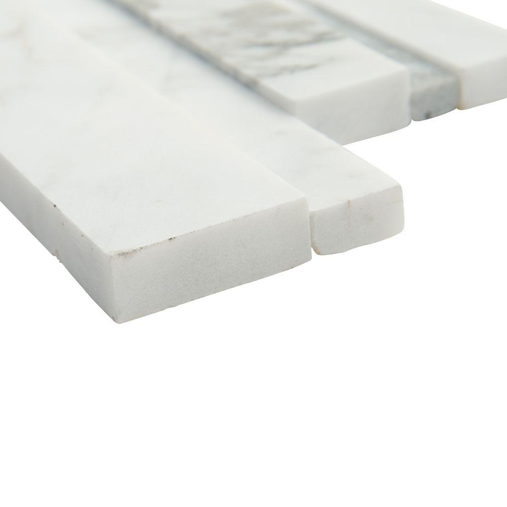 Calacatta Cressa 6x12x6 3D Honed Corner Ledger Panel