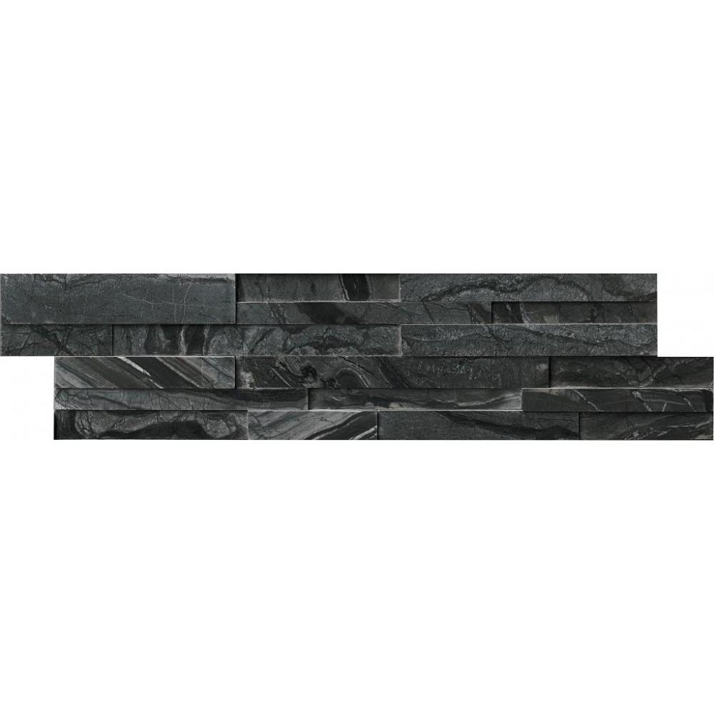 Glacial Black 6X24 3D Honed Ledger Panel