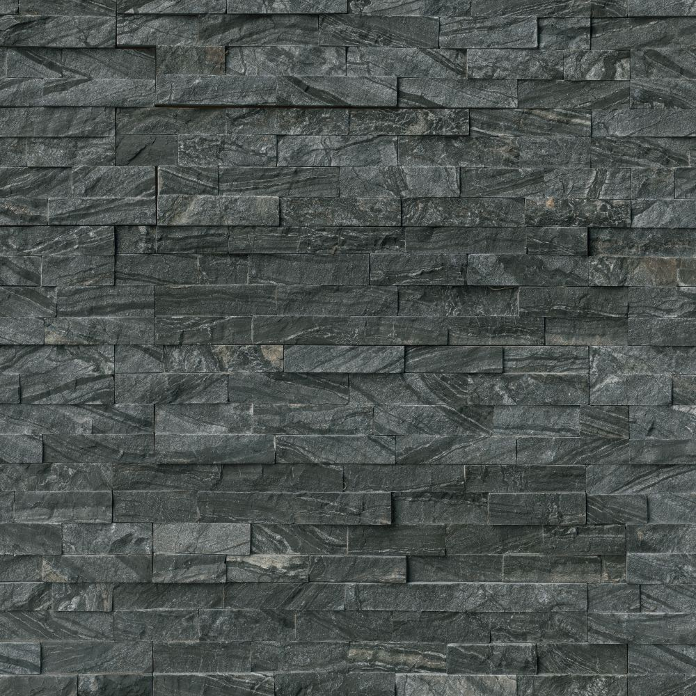 Glacial Black 6X24 Split Face Ledger Panel