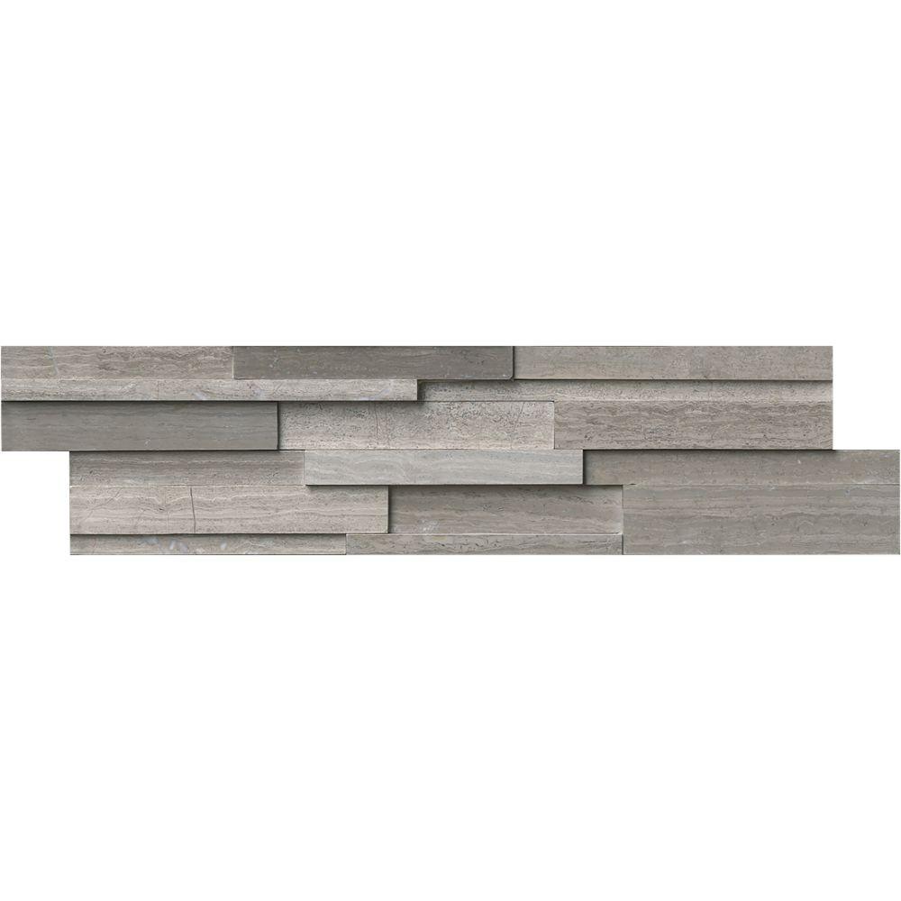 Gray Oak 6X24 3D Honed Ledger Panel
