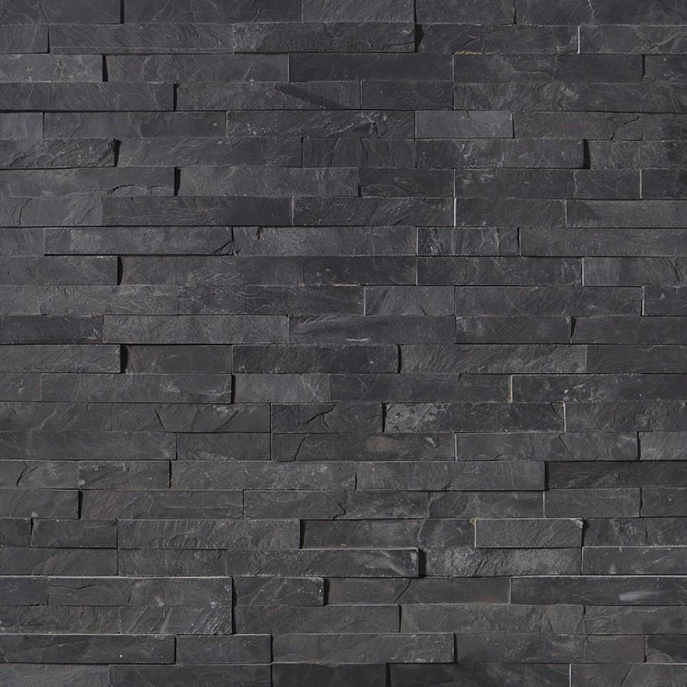 Premium Black 6X12X6 Split Face Corner Ledger Panel