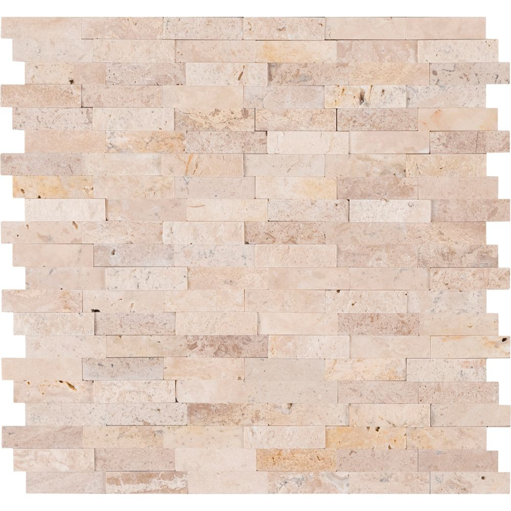 Roman Beige Splitface Peel and Stick Wall Tile