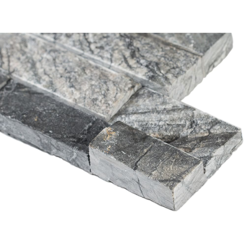 Glacial Black 6X12X6 Split Face Corner Ledger Panel