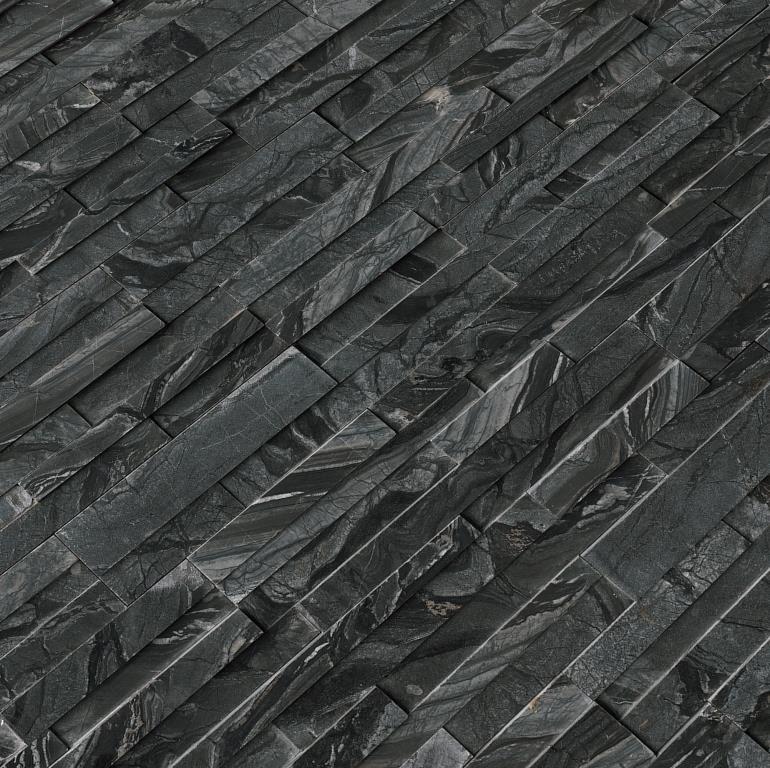 Glacial Black 6X12X6 3D Honed Corner Ledger Panel