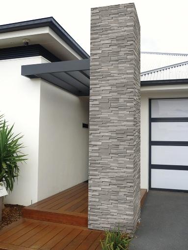 Gray Oak 6X18X6 3D Honed Corner Ledger Panel