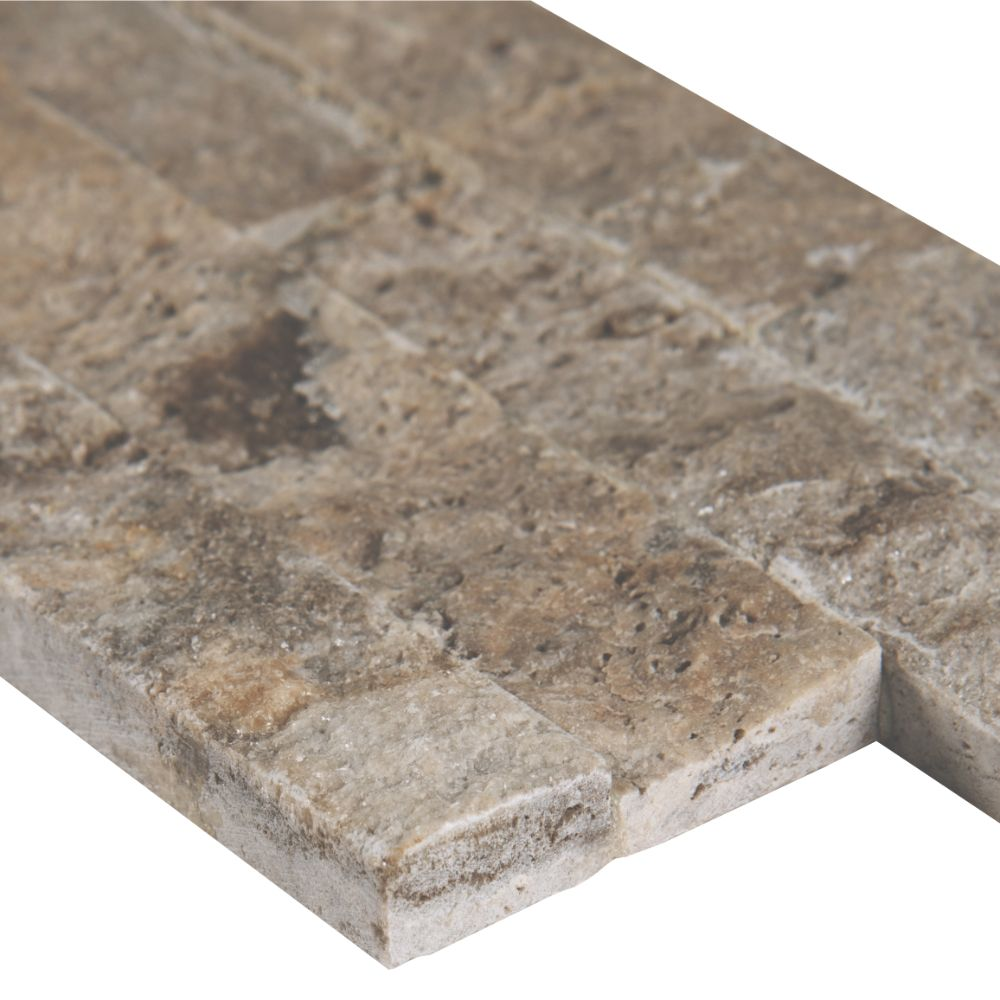 Silver Travertine 4.5x16 Split Face Mini Ledger Panel