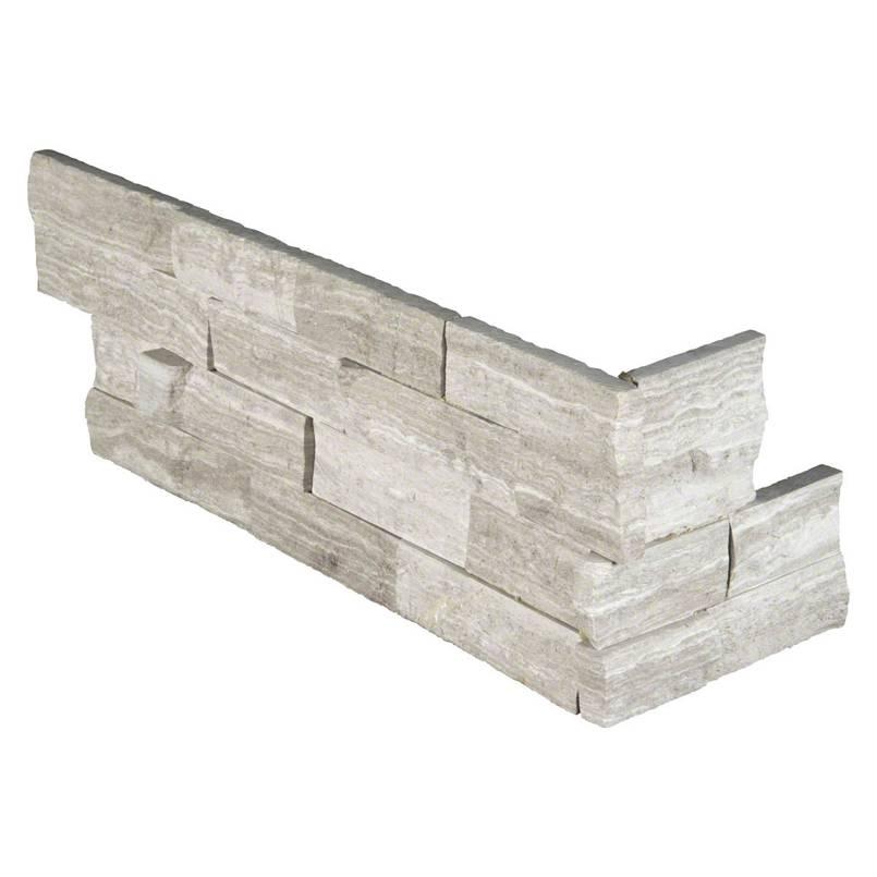 White Oak Splitface 6x18x6 Corner Ledger Panel